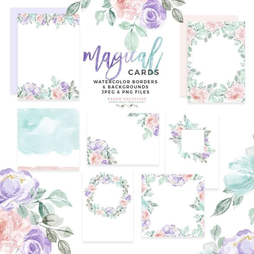 A Set Of Magical Watercolor Card Border Templates And Digital Papers In Pastel Rainbow Unicorn Colors