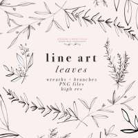 Line Art Leaves Clipart, Botanical Print Illustration, Greenery Eucalyptus Rosemary Herbs Graphics