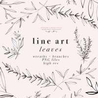Line Art Leaves Clipart, Botanical Print Illustration, Greenery Eucalyptus Rosemary Herbs Graphics
