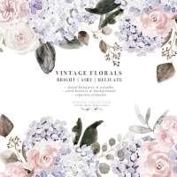 Vintage Watercolor Floral Graphics Clipart, Dusty Purple Mauve Rose Hydrangea Peony Flowers Clip art