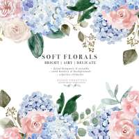 Watercolor Hydrangea Clipart, Soft Watercolor Flower Graphics, Floral Clipart Illustrations for Wedding Stationery
