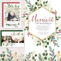 Watercolor Christmas Clipart, Wreath Clip Art, Holiday Photo Card Templates Border Transparent Background