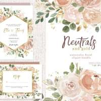 Watercolor Flowers Clipart, Floral Borders Frames, Neutrals with Gold Wedding Invitation Graphics
