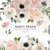 Dusty Peach Watercolor Flowers Clipart Background Border Wreath Bouquet, Watercolor Floral Corners Frames Graphics