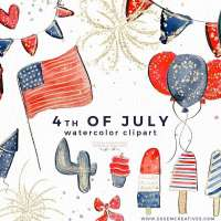 4th of July Clipart, Patriotic Clipart, Fourth July Graphics America Flag Bunting Popsicles Balloons Fireworks