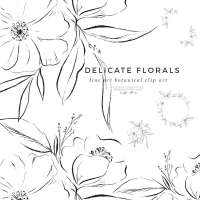 Delicate Line Art Floral Illustration Graphics, Black and White Botanical Flowers for Modern Minimal Wedding Invitations