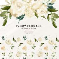 White Watercolor Flowers Clip Art, Ivory Florals Graphics Illustrations, Neutral Classic Cream and Greenery Florals Sublimation PNG