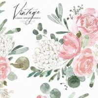 Vintage Watercolor Flowers ClipArt for Wedding Invitations, Dusty Rose Pink Peonies Hydrangea Graphics