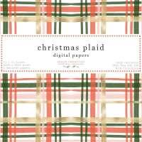 Christmas Plaid Pattern Digital Paper Seamless Repeat Card Background, Watercolor Tartan Print