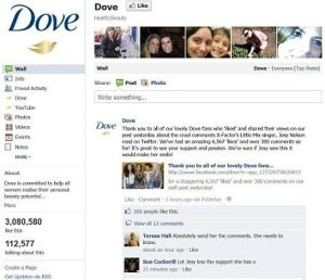 Facebook page for Dove