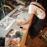 【ラフ画★浮世絵風】@伊豆大島『炭火ホルモン焼き六輪』様