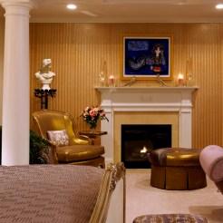 bedroom with beaded wallpaper