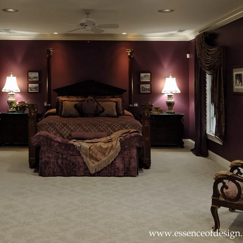 Potomac-Maryland-Interior-Designer-Shiva-Rostami-McLean-Va-master-bedroom-aubergene-color-custom-bedding