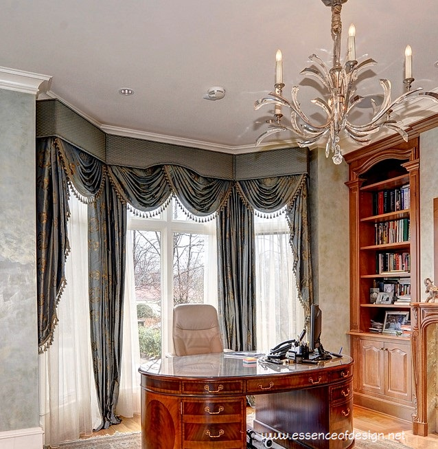 essenceofdesign.net-Potomac-MD-interior-designer-shiva-Rostami-elegant-luxury-window-treatment-silk-library-oval-desk