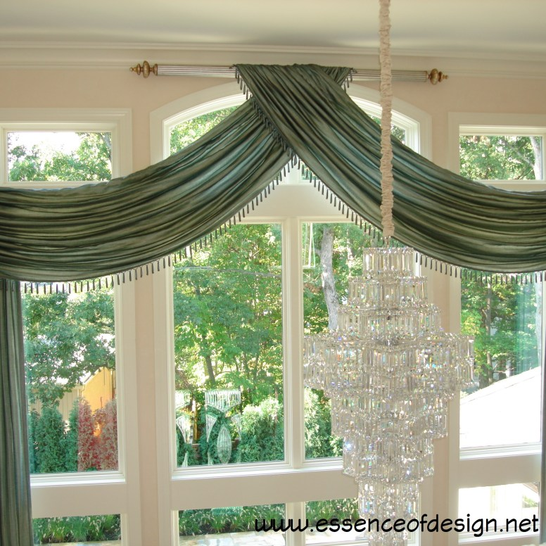 essenceofdesign.net-Potomac-Maryland-Interior-Designer-Shiva-Rostami-elegant-swag-panel-custom-window-treatment-Potomac-MD