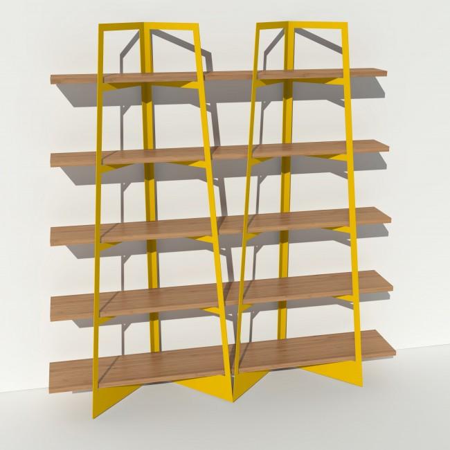 bibliotheque bois et metal sur mesure crescendo