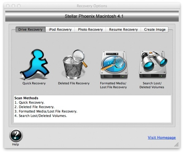 Stella Main Screen Review : Stellar Phoenix Mac Data Recovery