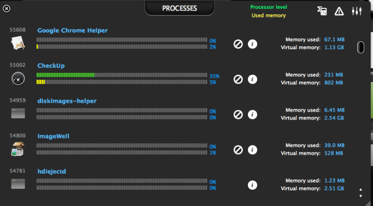 adn checkup cpu usage adnx CheckUp   Scan your mac performance at a glance