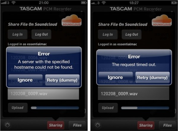 Tascam PCM Recorder Upload Erros 640x473 Tascam PCM Recorder App : Not exactly a sound app