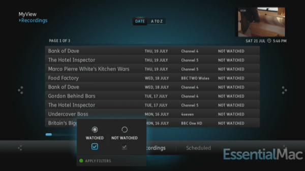 YouView My View Recordings 600x337 Review, Hands On : YouView Humax DTR T1000 PVR with IP TV