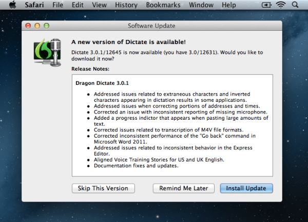Dragon Dictate 3 update 600x434 Dragon Dictate 3.0.1 Released