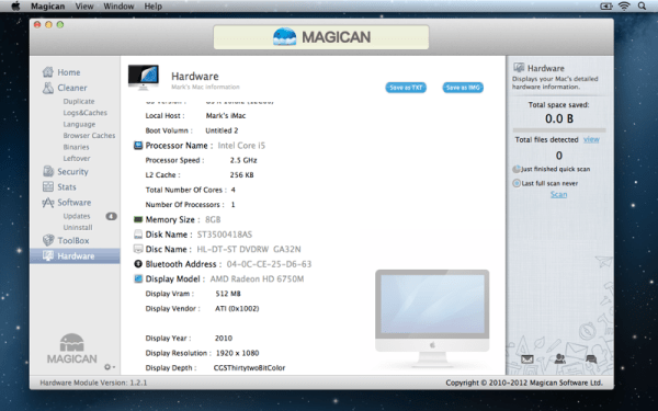 Magican Hardware 600x375 Magican 1.3.1 Review : Helping Clean Your Mac & Protect Against Mac Trojans