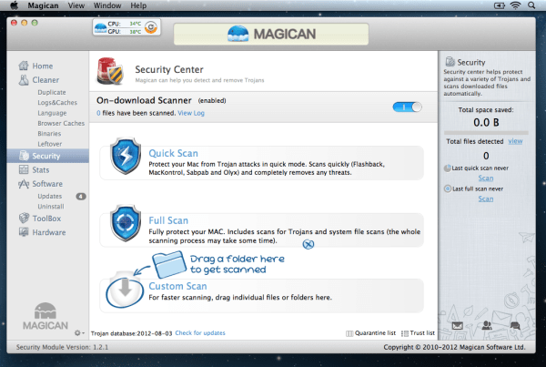 Magican Security Center 600x403 Magican 1.3.1 Review : Helping Clean Your Mac & Protect Against Mac Trojans
