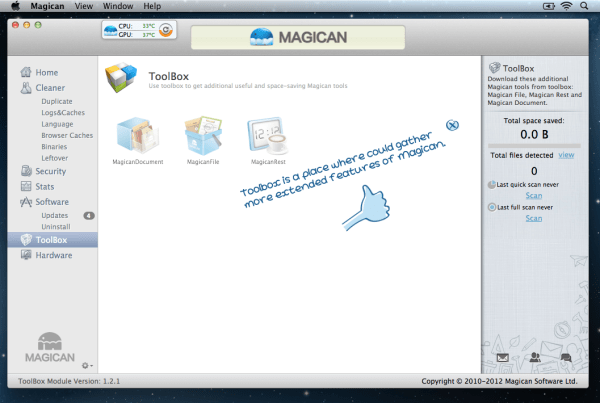Magican Toolbox 600x403 Magican 1.3.1 Review : Helping Clean Your Mac & Protect Against Mac Trojans