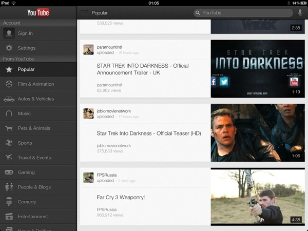 1354842470 YouTube iOS app updated : optimized for iPad ,  iPhone 5, and AirPlay streaming