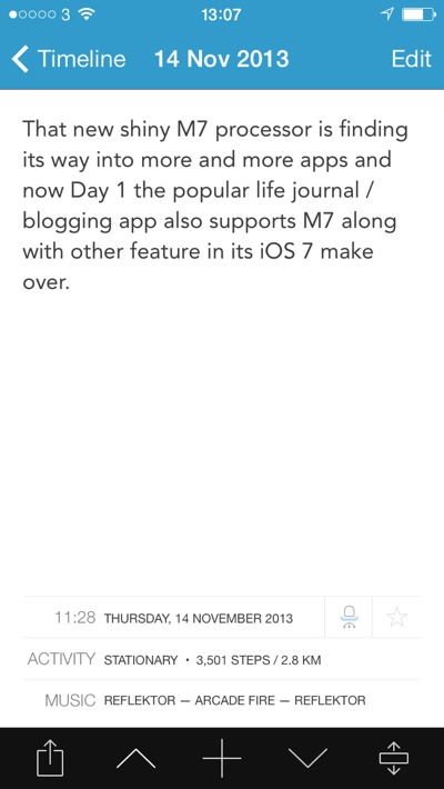 1384434577 Day 1 Life Journaling  App Now With M7 and iTunes Support.