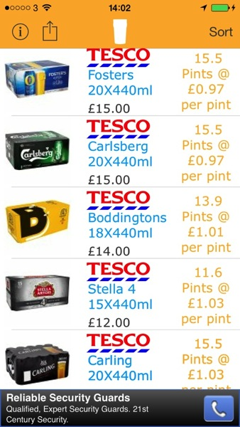 Pintsaver Tesco 20 x 440 Fosters AOTD: PintSaver.  Find the Best Beer Deals Right From Your iPhone