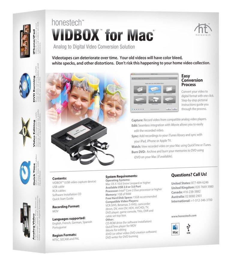 Vidbox for Mac Box Back Convert VHS, Betamax, S VHS to digital with VIDBOX for Mac