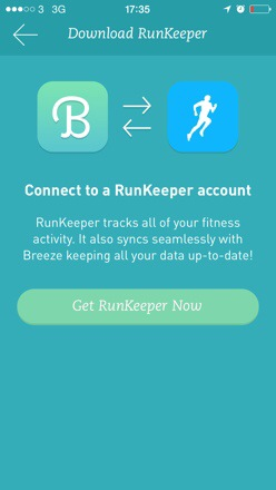 20140721 174530 63930507 Finally. Breeze the pedometer app synchs with runkeeper.