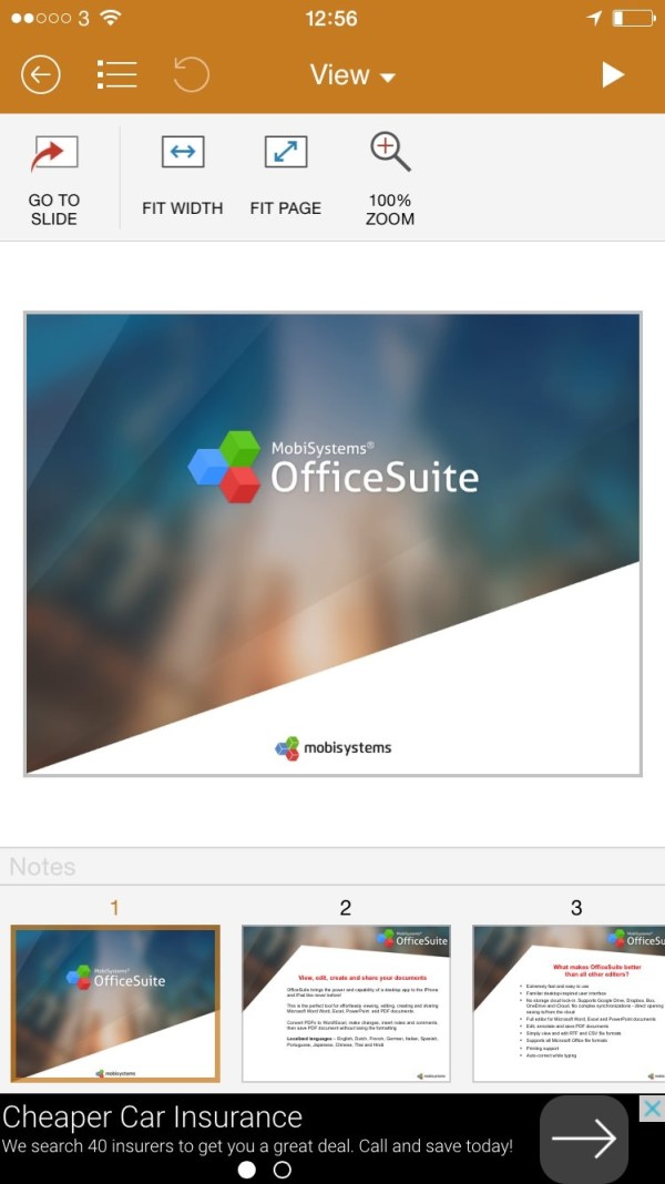MobiOffice PowerPoint View menu MobiSystems Office Suite Review.  Open & Edit Office Documents Stored Anywhere.