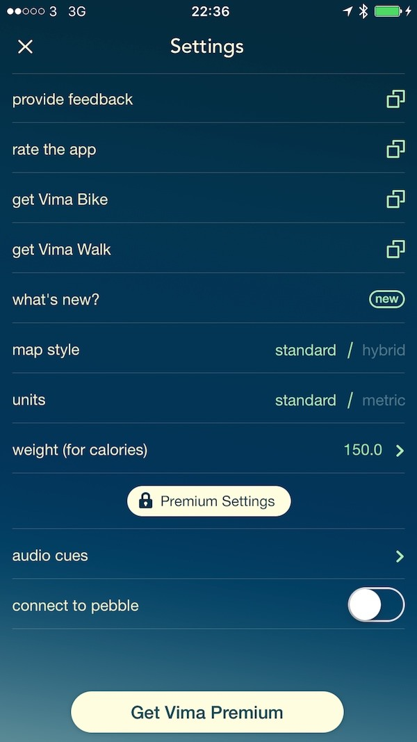 Vima Settings 1 Vima Run App   The Best Alternative Running App Youve Never Heard Off.