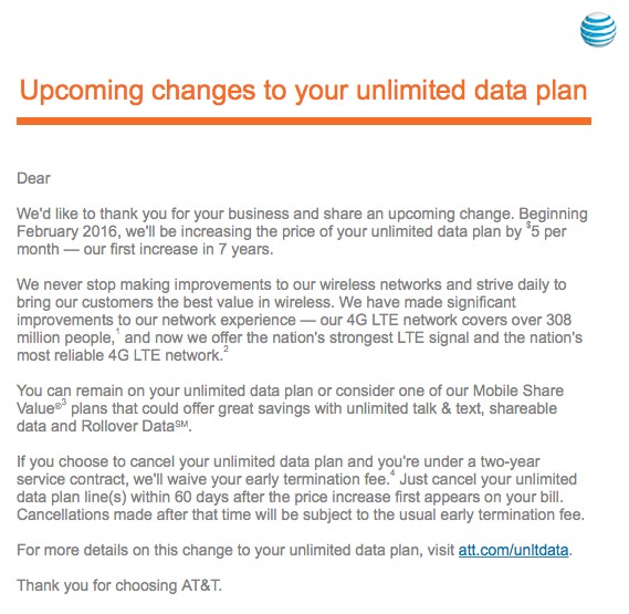 AT Charging More AT&T Wants More Money For Your Unlimited Plan Starting February 2016