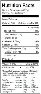 Lemon Raspberry Scone Nutritionals
