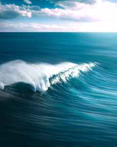 A wave crests on the ocean