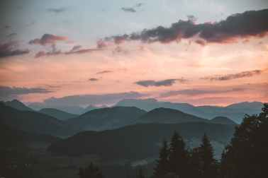 Early sunrise over mountains
