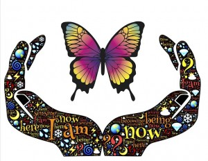 Image of hands cupping butterfly with words about being in the present