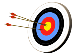target with arrows in in center circles