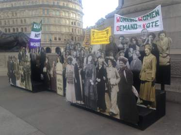 A model of the suffragettes in Trafalgar Square London