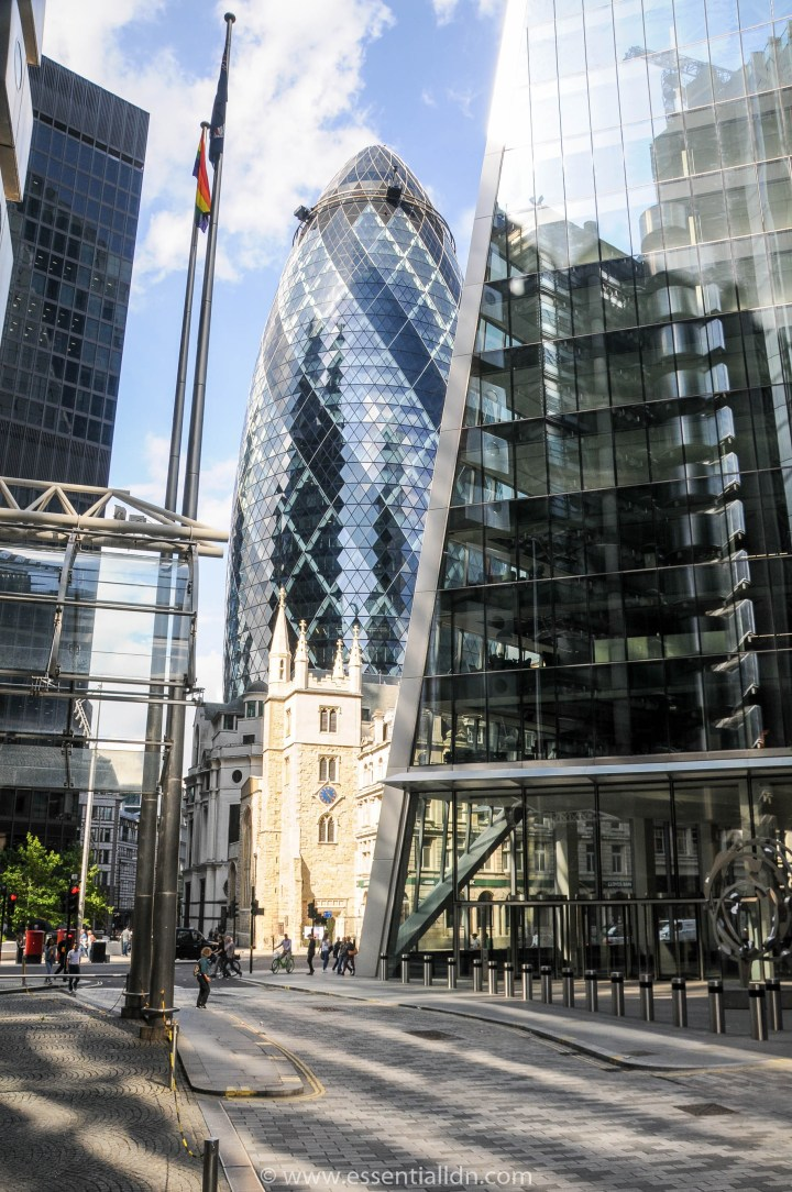 30 St Mary Axe (the 'gherkin') (Foster/Shuttleworth), St Andrew Undershaft and The Leadenhall Building ( the'cheesegrater') (Rogers/Stirk)