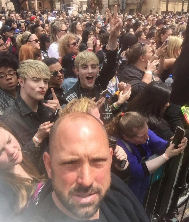 Los Angeles-based photographer Michael T Rozman captured this photo of the crowd outside the presentation. Among them were John and Edward Grimes (aka Jedward), long term *NSYNC fans, who are currently in LA recording music.