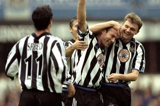 Newcastle's Alan Shearer celebrating one of his goals in their 8-0 win