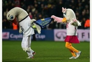 Swansea City's mascots Cyril and Cybil the Swan celebrate reaching Wembley