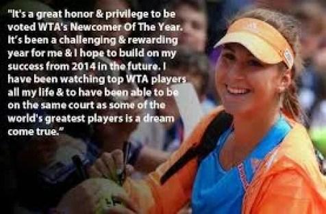 Belinda after winning WTA newcomer of the year award