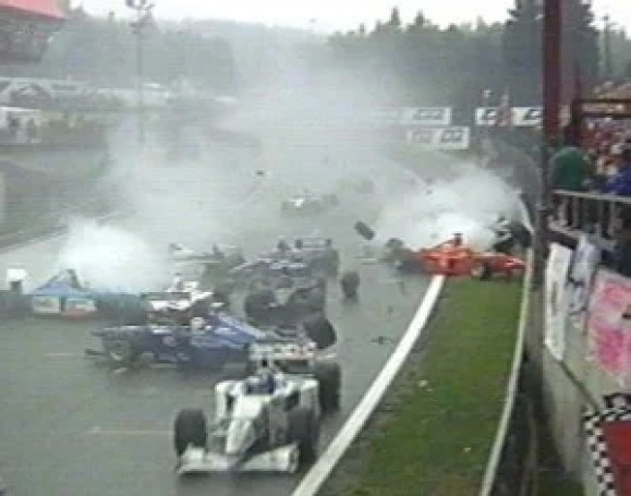 First lap crash which involved 11 cars.