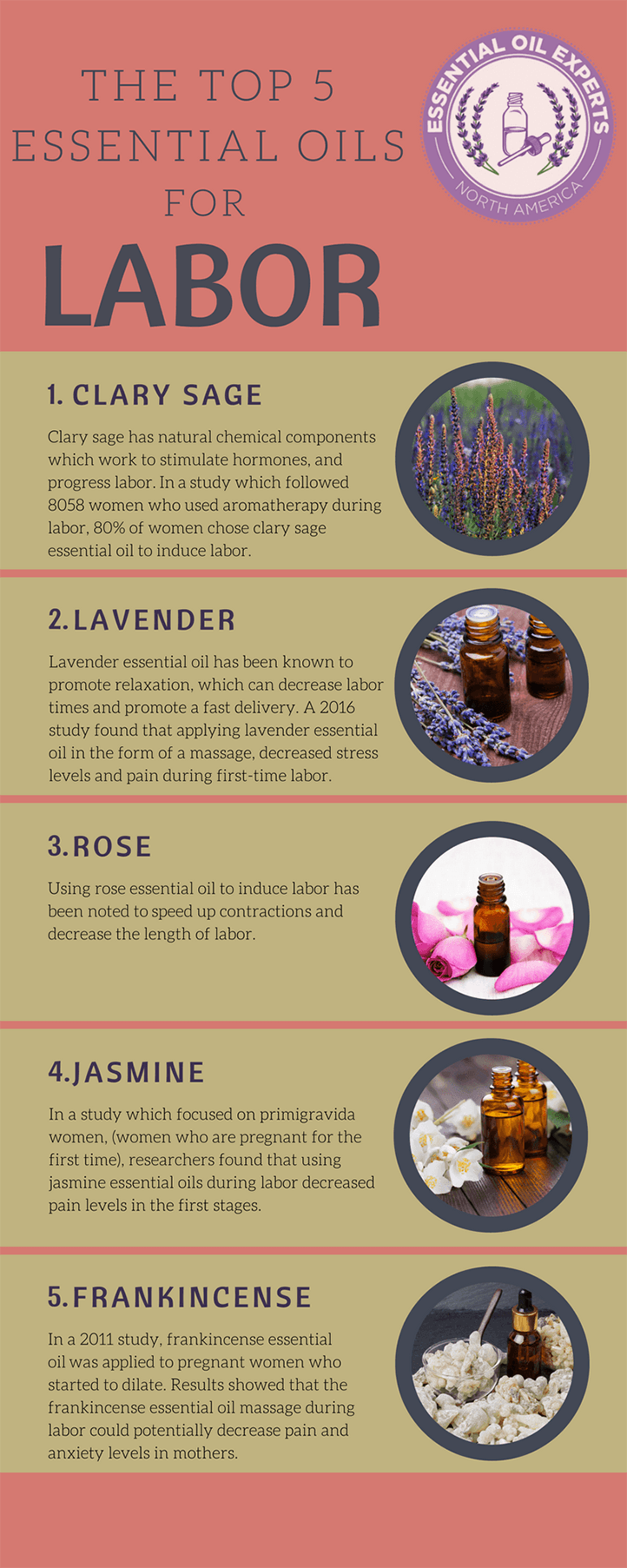 Best essential oils for labor induction including clary sage labor recipe for pain relief during labor.