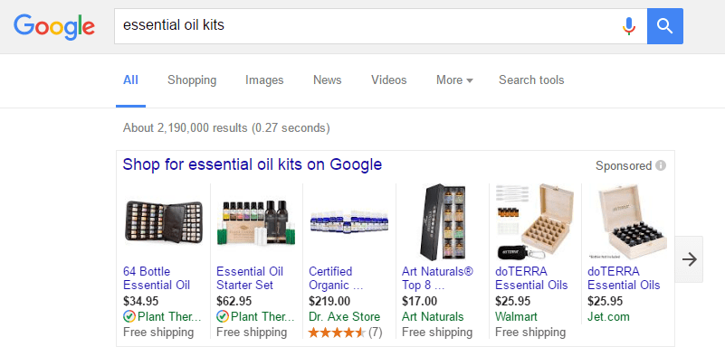 google-essential-oil-kits-sponsored-ads
